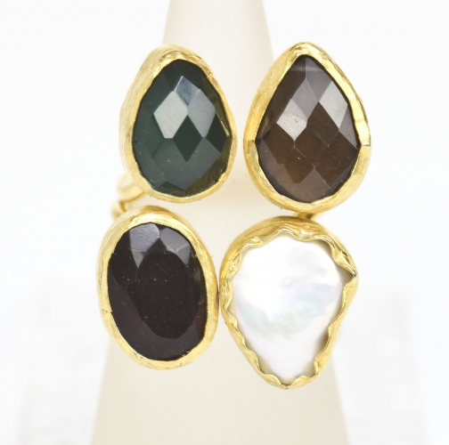 Gold Plated Mixed Stone Ring